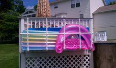 Raft/float storage for the pool. - Inflatable Pool Float - Ideas of Inflatable Pool Float - - Raft/float storage for the pool. Pool Float Storage, Pool Toy Storage, Pvc Pool, Pool Fun, Pool Organization, Organizing, Swimming Pool Decks, Pool Hacks, Pool Accessories