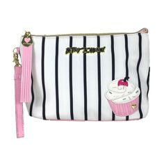Betsey Johnson Cupcake Large Pouch Wristlet, Multi Stripe (270 SEK) ❤ liked on Polyvore featuring bags, handbags, clutches, white handbags, betsey johnson wristlet, striped handbags, white wristlet and betsey johnson purses