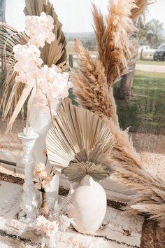 tropical preserved leaves and pampas grass wedding decor Byron Bay Weddings, Beach Weddings, Succulent Centerpieces, Centerpiece Ideas, Deco Floral, Wedding Fair, Pampas Grass, Wedding Trends, Wedding Ideas