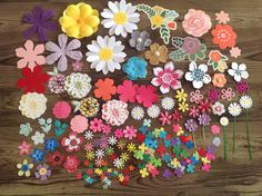 Mixed Flower die cuts, mixed flowers,  flower variety pack, die cuts, multi coloured flower die cuts, destash by PinkyPromiseBargains on Etsy