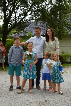 The Danish Crown Prince Couple and their children receives Gråsten Tilting Association in the courtyard of Gråsten Palace, 19 July, 2015.