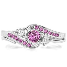 0.50 Carat (ctw) 10k White Gold Round Pink Sapphire & White Diamond Ladies Swirl Bridal Engagement Ring With Matching Band Set 1/2 CT (Size 7) DazzlingRock Collection http://www.amazon.com/dp/B00HS6SN3U/ref=cm_sw_r_pi_dp_tCqRub1VGVB5K