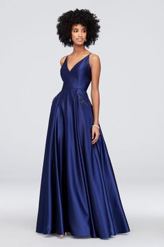 eef687661e63 Satin V-Neck Ball Gown with Jeweled Slash Pockets Style 320BN
