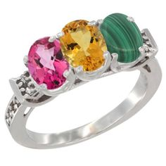 10K White Gold Natural Pink Topaz, Citrine and Malachite Ring 3-Stone Oval 7x5 mm Diamond Accent, sizes 5 - 10 -- Find out more details by clicking the image : Jewelry Ring Bands