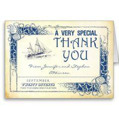 nautical vintage boat navy blue seasells beach wedding thank you cards