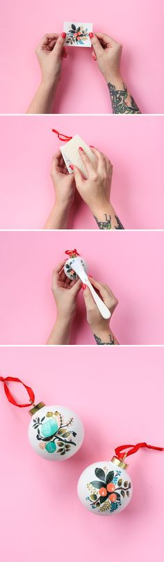 Temporary tattoos become gorgeous holiday ornaments with this easy DIY!
