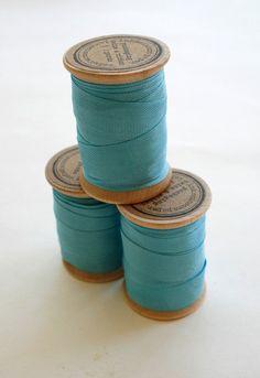 Rayon Binding Tape - 1/2 Inch Wide - 10 Yds Elegant Peacock on Wooden Spool