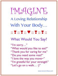 IMAGINE: A Loving Relationship With Your Body... What Would You Say? https://www.facebook.com/IECoaching