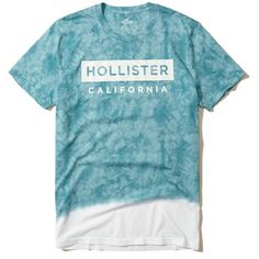 Hollister Tie-Dye Graphic Tee ($20) ❤ liked on Polyvore featuring men's fashion, men's clothing, men's shirts, men's t-shirts, men tops/outerwear, blue, mens crew neck t shirts, mens t shirts, mens blue leopard print shirt and mens print shirts
