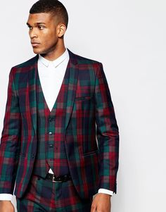 Image 1 of Vito Plaid  Suit Jacket in Slim Fit