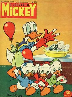 Donald Duck in the Kitchen, Vintage Disney Print, 1950s