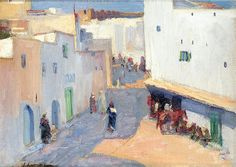 View A STREET IN TANGIER By John Lavery; oil on canvas; Oil on canvas board; Access more artwork lots and estimated & realized auction prices on MutualArt. Irish Painters, Plaster Art, Irish Art, White City, National Museum, Exterior Paint, Rue, Oil On Canvas, Fine Art
