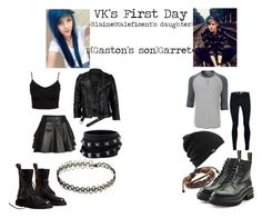 """""""VK'S First Day (Maleficent's And Gaston's Children)"""" by i-meant-it-ironicly ❤ liked on Polyvore featuring LE3NO, Valentino, Dsquared2, Mairi Mcdonald, VIPARO, Burberry, Glamorous, Topman, Burton and West Coast Jewelry"""