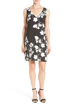 Vince Camuto Floral Print V-Neck Shift Dress