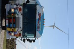 Bookmobile with windmill.
