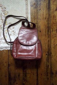 Vintage Backpack Rucksack Bag Leather Satchel by DollyTopsyVintage