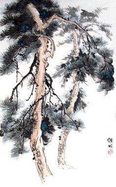 Chinese Brush, Chinese Art, Ink Painting, Watercolor Art, Waterfall Drawing, Pine Garden, Chinese Landscape, Art For Art Sake, Japan Art