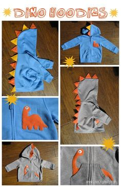 Dino Hoodies. Cute idea for Christmas gifts for my little nephews!