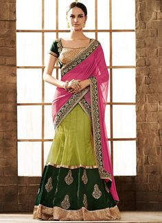 Green N Pink Lehenga Saree. This is so pretty!!!
