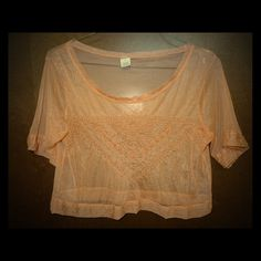 NWOT Anthro Peach Lace Embroidered Blouse Sheer L NWOT Anthropologie? Style Pink Peach Lace Embroidered Blouse Floral Sheer Short Sleeve Shell Cropped Size L Anthropologie Tops Blouses