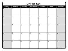 October 2016 monthly calendar template