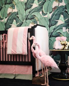 Have you seen our Beverly Hills Hotel Nursery? Filled with flamingos and whimsical touches.  Click link in bio for full details #ptbaby