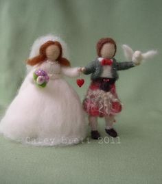 Needle Felted Bride and Groom Wedding Cake Topper - Waldorf Style - with miniature dove