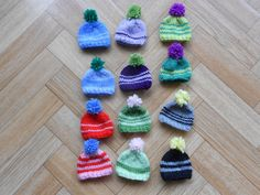 Set of 12 striped mini hats with pompoms by CuteCreationsByLea