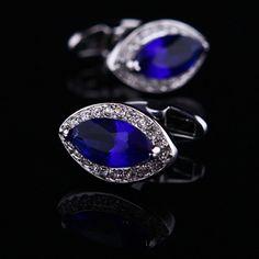 Blue Gemstone Centered Cufflinks. Beautiful.