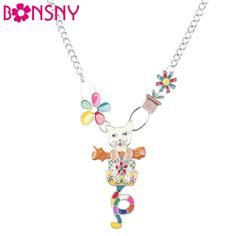Find More Choker Necklaces Information about Bonsny Statement choker Enamel  Flower Cat  Necklace Charm Metal Alloy Chain Pendant 2016  New Jewelry For Women Collar,High Quality jewelry for women,China statement choker Suppliers, Cheap chain pendant from Bonsny Official Store on Aliexpress.com