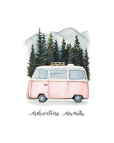 disney home accents VW Bus Abenteuer erwartet Road Trip in den Bergen Watercolor Illustration, Watercolor Paintings, Watercolour, Image Pastel, Bus Art, Disney Home, Vw Bus, Art Projects, Art Drawings