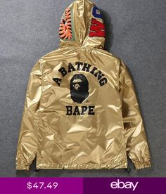 99d05d9a246c Men s Black Monkey Icon A Bathing Ape Hoodie Windbreaker Bape Two-Wear  Jacket in Clothing