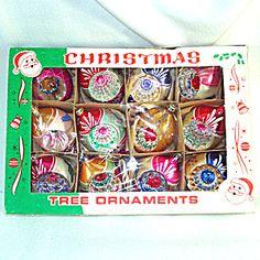 Box 1950s Poland Fantasia Indent Glass Christmas Ornaments ...
