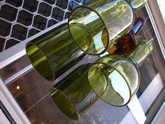 Glass bottle windchimes.