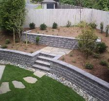 cinder block retaining wall with green grass