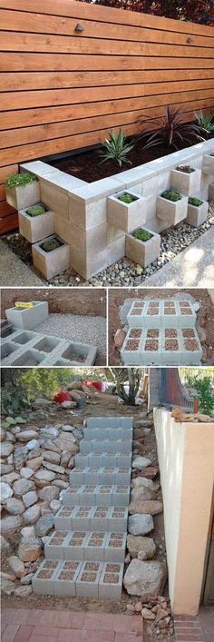 Steps  – Build outdoor steps with cinder blocks, then fill in the holes with small pebbles to ensure nobody sprains an ankle by tripping... Cinder Blocks, Cinder Block Ideas, Small Gardens, Outdoor Gardens, Garden Projects, Garden Beds, Home And Garden, Lawn And Garden, Garden Furniture