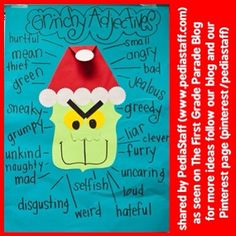 """Grinchy Adjectives"" - read or listen to the story and describe away! Pairs nicely with Grinch Punch (Sprite and lime sherbet) - (Source: www.thefirstgradeparade.blogspot.com) #slpeeps #schoolslp #speechtherapy #Padgram Holiday Activities, Classroom Activities, Classroom Fun, Writing Activities, Writing Ideas, Future Classroom, Therapy Activities, Grammar Activities, Therapy Ideas"