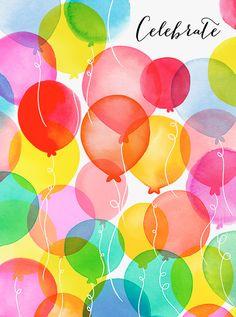 Margaret Berg Art: Balloon Rainbow Celebrate