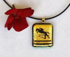 Gold Dichroic Fused Glass Pendant Necklace by GreenhouseGlassworks, $20.00
