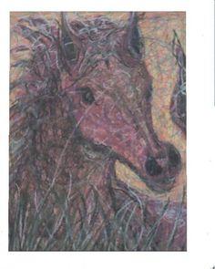 pink horse, crayon