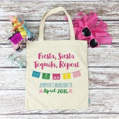 Who's heading out to Mexico for their bachelorette party!? Don't forget to grab your girls our oh so adorable and fun FIESTA SIESTA TEQUILA REPEAT totes...an awesome beach bag favor!