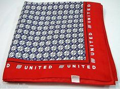 "United Airlines Scarf Flight Attendant Headscarf 35"" Square Large Logo Scarf 