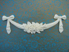 SHABBY CHIC ROSE SWAG BOW APPLIQUES FURNITURE MOULDINGS rsb1