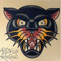 Old school/Traditional panther tattoo design by Antonio Roque. Traditional Butterfly Tattoo, Traditional Panther Tattoo, Traditional Tattoo Design, Traditional Tattoo Flash, Kunst Tattoos, Neue Tattoos, Tattoo Drawings, Tattoo Ink, Arm Tattoo