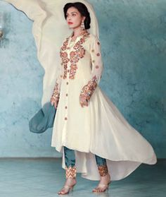 Buy Cream Georgette Pant Style Salwar Kameez 71608 online at lowest price from huge collection of salwar kameez at Indianclothstore.com.