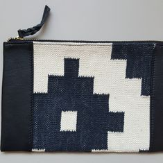 Handmade Dhurrie Clutch - Bonam Home Dhurrie Rugs, Just Run, Soft Leather, Organic Cotton, Hand Weaving, Flaws, Pouch, Handmade, Hand Made