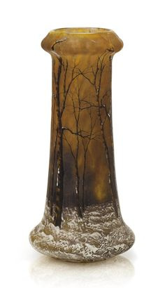 A FRENCH 'WINTER LANDSCAPE' ENAMEL AND CAMEO GLASS VASE BY DAUM FRÈRES, CIRCA 1910