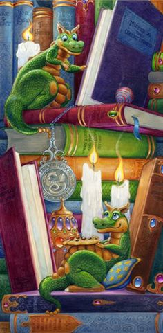 Randal Spangler, Good Books and Good Friends. Dragon Hatchling Egg Baby Babies Cute Funny Humor Fantasy Myth Mythical Mystical Legend Dragons Wings Sword Sorcery Magic Art Fairy Maiden Whimsy