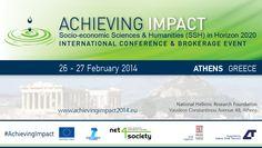 Διεθνές Συνέδριο Achieving Impact για τον αντίκτυπο της έρευνας στις Κοινωνικο-οικονομικές και Ανθρωπιστικές Επιστήμες - http://iguru.gr/2014/02/21/achieving-impact-socio-economic-sciences-and-humanities-ssh-in-horizon-2020/