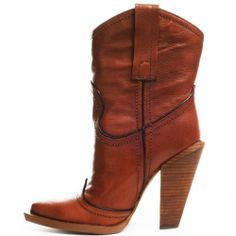 Jessica Simpson Women's Abbee Tan Leather Western High heel ankle boots 8.5 38.5